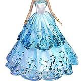 Creation Le plus étonnant robe avec Paillettes faites pour adapter la poupée Barbie - Bleu