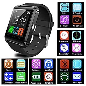 Mobile Link U8 Bluetooth Smart Watch With Touch Screen/Multilanguage/Wrist Watch With Activity Trackers And Fitness & Supports Apps Like Facebook And Whatsapp.. (BLACK) Compatible for Intex Aqua Star 2 (8GB)