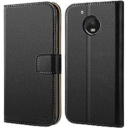 HOOMIL Coque Moto G5, Housse en Cuir Premium Flip Case Portefeuille Etui Coque pour Motorola Moto G5 (H3154, Noir)