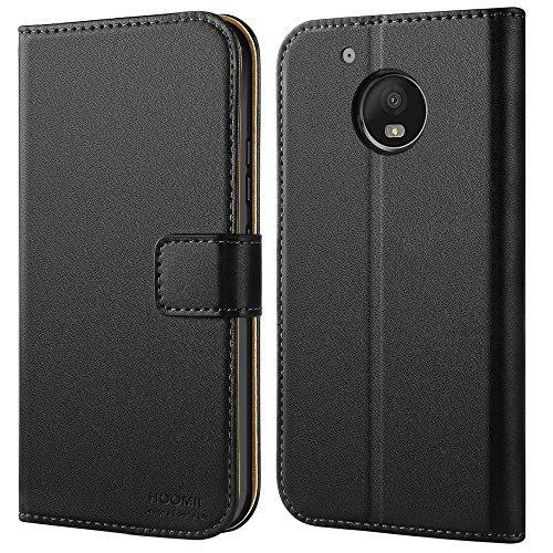 HOOMIL Moto G5 Hülle, Handyhülle Premium Leder Tasche Flip Case Schutzhülle für Motorola Moto G5 (H3154, Schwarz)