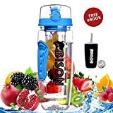 #4: Bison Wild Crafted Fruit Infuser Water Bottle 1 Litre - Rapid Weight Loss & Detox Infused Water Recipes eBook - BPA Free Tritan Infuser - Includes Anti-Sweat Thermos Sleeve, Protein Shaker Ball