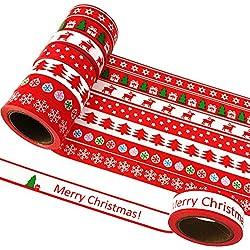 8 Rollos de Cinta adhesiva decorativa de Navidad 15 mm x 10m