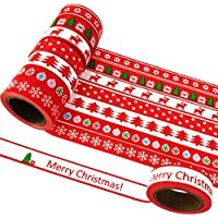 EDGEAM 8 Rollos Washi Tape Set Cinta adhesiva Navidad Modelo decorativa papel de bricolaje Álbum de recortes, cada rodillo de 15 mm x 10m (Stil-SD1R)