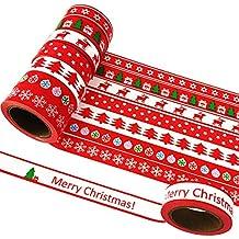 EDGEAM 8er/Set Washi Tape Weihnachten Christmas Rot Klebeband Dekorative Scrapbooking 15MM x 10M (Stil-SD1R)