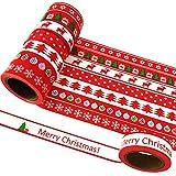 EDGEAM Lot de 8 Ruban Adhésif Décoratif Motifs Noël Bandes Washi Masking Tape Bricolage Scrapbooking, chaque rouleau 15mm X 10M