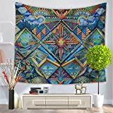 Indian Sun Moon Diamond Wall Hanging Hippy Tribal Folk Style Wall Hanging Tapestry Wall Throw Tapestry Bedding Bedspread Picnic Beach SheetTable Cloth Ceiling Cover Decorative Wall Hanging 150X130cm(HYC23) (5#)