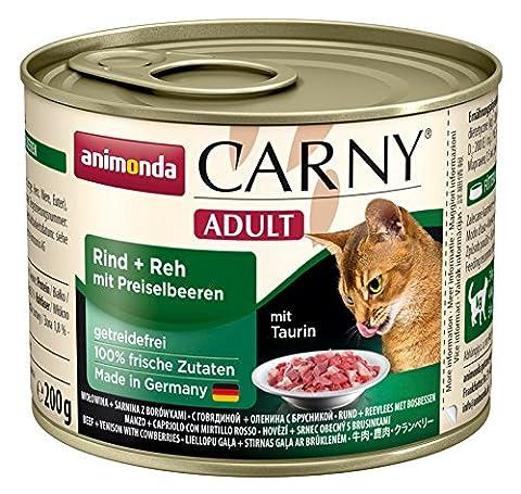 Animonda Katzenfutter Carny Adult Rind Plus Reh mit Preiselbeeren natürlich getreidefrei und ohne Zucker, 6er Pack (6 x 200 g)