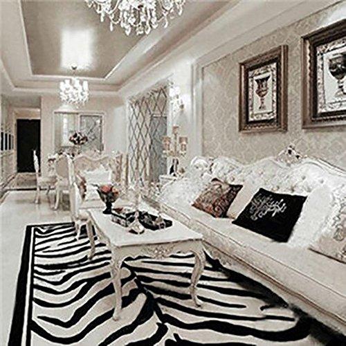 flashing- Rectángulo pavimentada en blanco y negro de leopardo tigre alfombra hecha a mano de los animales en casa mesa de café salón dormitorio alfombra ( Color : C , Tamaño : 1200mm*1700mm )