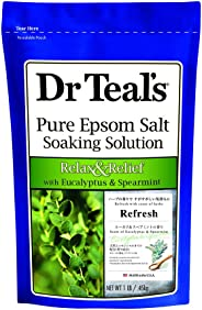 Dr Teal's Relax & Relief Pure Epsom Salt Soaking Solution with Eucalyptus & Spearmint, 0.45 kg