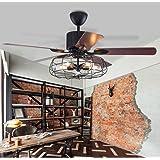 Moerun 52inch Ventilateur de plafond vintage avec lumières pour lustre industriel, télécommande et éclairage réversible, ampo