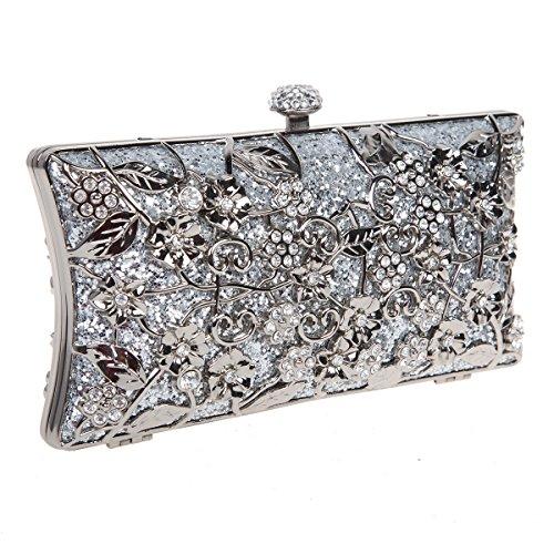 Bonjanvye Shining Metallic Floral Clutch Bags for Girls Handbags Purses Silver Silver