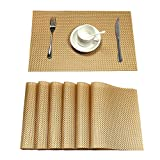 U'Artlines Placemat, Crossweave Woven Vinyl Non-slip Insulation Placemat Washable Table Mats (6pcs placemats, Gold)