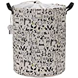 Sea Team Large Size Canvas Laundry Hamper Collapsible Storage Basket with Nautical Cute Pattern, 19.7 by 15.7 inches (Panda)