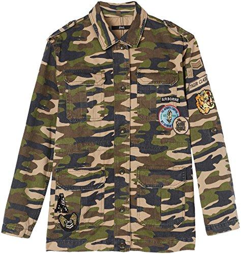 FIND Damen 56263 Jacke, Patch detail Mehrfarbig (camo green)