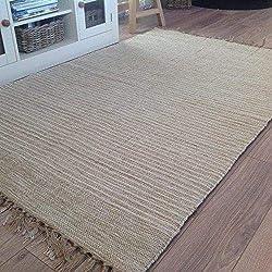 Second Nature Naturel Coton & Jute Beige crème Clair Broches à Rayures Tapis de Couloir 120cm x 180cm