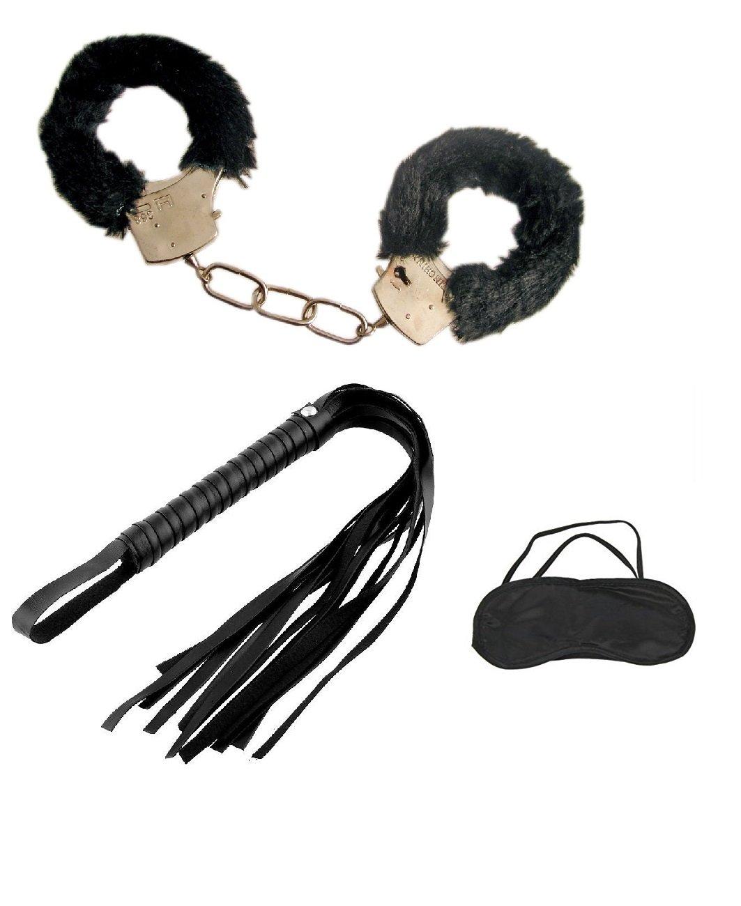 Gioco bondage sadomaso sexy mascherina manette e frustino nero Fair ShopOnline