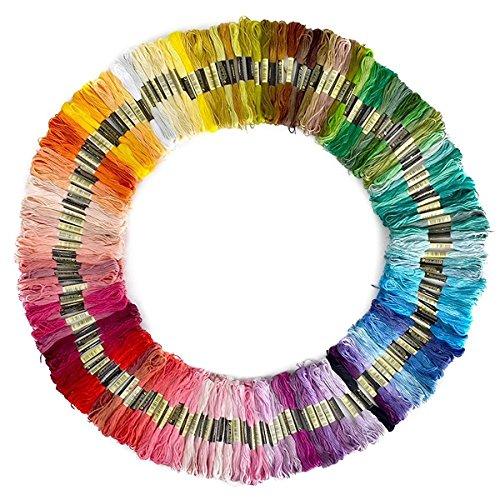 Leisial 100 Madejas de Hilos Cross Stitch Bordado Hilos Punto de Cruz Línea de Costura Coser Hilos Conjunto de Agujas Bordado (100 Color)