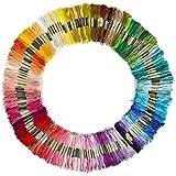 Leisial 100 Madejas de Hilos Cross Stitch Bordado Hilos Punto de Cruz Línea de Costura Coser Hilos Conjunto de Agujas Bordado de Diferentes Colores