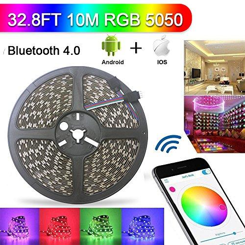 ABelle Bluetooth LED Streifen 10M RGB Nicht Wasserdicht 32.8ft 5050 SMD LED Lichtleiste iOS Android Fernsteuerung 16 Millionen Farben Einstellbar Smartphone App Scannen für Zuhause Wohnzimmer Küche Bar Licht Dekoration