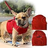 Septven Hochwertiges Weiches Atmungsaktives Breathable Air-Mesh Material Brustgeschirre (Leine enthalten) für Hunde / Welpen (L, Rot)