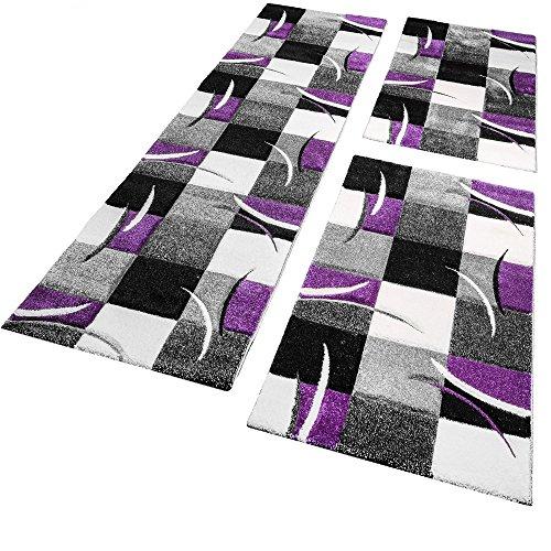Bettumrandung Läufer Teppich Modern Karo Lila Schwarz Creme Läuferset 3 Tlg., Grösse:2mal 80x150 1mal 80x300