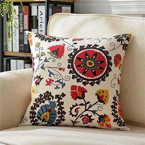 Teebxtile Cuscino copertina divano cuscino copertina Home prodotti decorazione cotone e lino fiori, 60x60cm (cuscino-No-Cell), vento Chimes D.