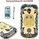 Cidimi Druckbild PC und TPU Handyhülle für Samsung Galaxy S3 mini i8190 Tasche Back Case Etui Rück Hülle + Eingabestift +eine super klare Schutzfolie (Achtung: NICHT Für S3 i9300)(gelbe Eule)
