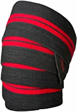 SKYBLUE Unisex Fitness Guru Red Line Knee Wraps for Weightlifting, Fitness, Powerlifting, and Squats (Black and Red)