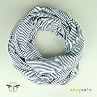Loop-Schal Damen, maritim geringelt, weiß blau, aus Baumwoll-Jersey