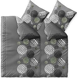 CelinaTex Touchme Bettwäsche 135 x 200 cm 4teilig Baumwolle Bettbezug Biber Ciara Punkte Streifen grau anthrazit weiß