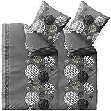 CelinaTex Touchme Ciara Biber Bettwäsche 135x200 4teilig flauschig Weicher Bettbezug mit Kissen Bezug anthrazit grau weiß Punkte Kreise 6000425
