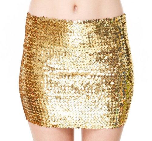 2in1 Pailletten TOP ROCK Bandeau Oberteil Bandeautop Sexy Rock Minirock Shirt Tank Pencilrock Gold - Gold