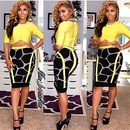 HLBandage Half Sleeve Leopard Print 2 Piece High Waist Bandage Dress yellow
