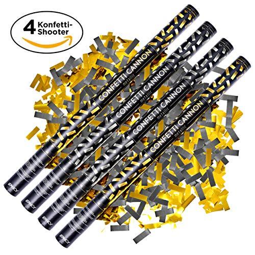 ifancy 4X XXL Konfetti-Shooter Gold und Silber 80cm - Party-Popper Konfetti-Kanone Streamer für Hochzeit, Geburtstag, Silvester & Co.