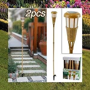 2 st ck led solarleuchten solarlampe bambus gartenfackel 170cm garten. Black Bedroom Furniture Sets. Home Design Ideas