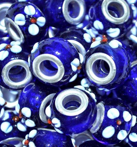 5 pezzi di perle in vetro di murano, placcata in argento, motivo floreale, vetro di murano, white on blue