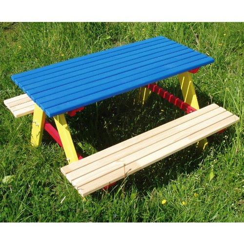 Kindersitzgarnitur 4 Sitzer Kinder Sitzgruppe Holz Garten Tisch Bank Kindertisch (Blau)