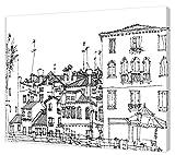 pintcolor 7812.0Keilrahmen mit Leinwand bedruckt zum Ausmalen, Holz-Tanne, weiß/schwarz, 40x 50x 3.5cm