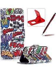 LG K10 Funda de cuero,LG K10 Llevar bolsa de la carpeta de la cubierta,Herzzer Alta calidad elegante [Garabato Boom Patrón] Fold PU caja de la carpeta de primera calidad Cartera de cuero del soporte del tirón, los titulares de la cubierta elegante de la caja para LG K10 + 1 x rojo cellphone pata de cabra + 1 x Rojo-clarete Lápiz óptico