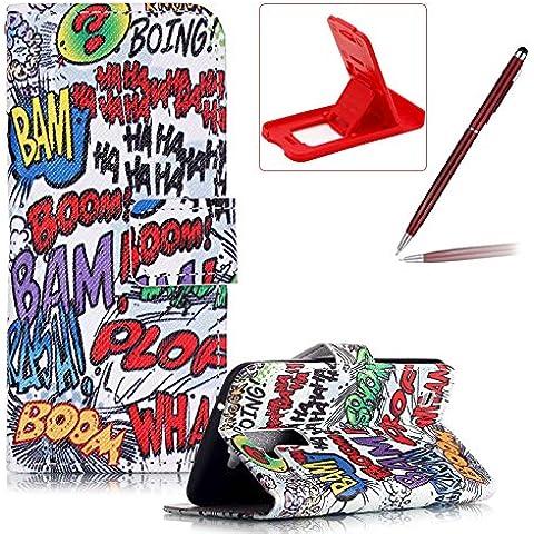 LG K10 Funda de cuero,LG K10 Llevar bolsa de la carpeta de la cubierta,Herzzer Alta calidad elegante [Garabato Boom Patrón] Fold PU caja de la carpeta de primera calidad Cartera de cuero del soporte del tirón, los titulares de la cubierta elegante de la caja para LG K10 + 1 x rojo cellphone pata de cabra + 1 x Rojo-clarete Lápiz