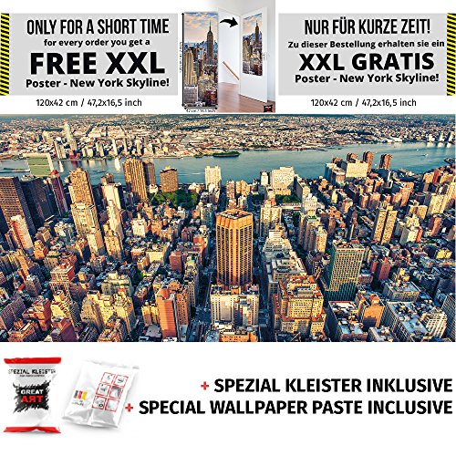New York Skyline Fototapete Sunset over Manhattan USA Wandbild XXL New York Wanddeko 210 x 140 cm + Spezial Kleister