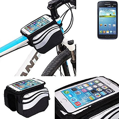 For Samsung Galaxy Core Duos: Cycling Frame Bag, Head Tube Bag, Front Top Tube Frame Pannier Double Bag Pouch Holder Crossbar Bag, black-silver water resistant -