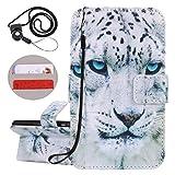 Coopay Animali Custodia in Pelle Artificiale iPhone 5 5S SE a Libro Flip Portafoglio Protettivo Cover Supporto di Stand Marrone Cover per iPhone 5S 4.0 con Modello Leopardo Bianca