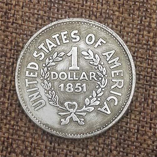 YunBest Morgan Silber-Dollar-Münzen zum Sammeln von Silber-Dollar USA Old Original Pre Morgan Dollar Münzen BestShop, 1851, Einheitsgröße -