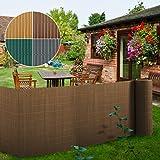 Brise vue 5m casa pura pare vue canisse lamelle | balcon, jardin | occultant, résistant | marron - 150x500cm