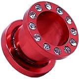 tumundo 1x o 1 Set Flesh Estensore Tunnel Plug Piercing Acciaio Inossidabile Orecchio Tappo Strass 1,6-10mm Colore Rosso