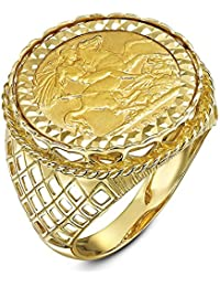 Theia Men's 9 ct Yellow Gold Diamond Cut Patterned Set with 22 ct Sovereign Coin Ring