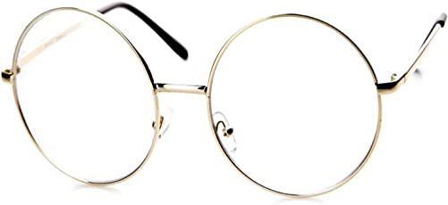 Y&S UV Protected Non Polarized Vintage Round Unisex Spectacle frame (Transparent|55|round-clear-single)