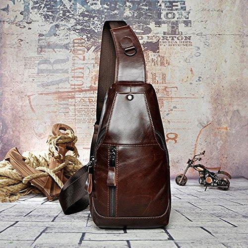 tacnhen Herren Echt Leder Business Crossbody Bag Vintage Brust Tasche -