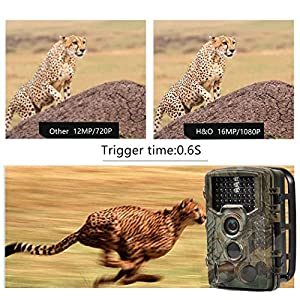 H&O 16MP 1080P Game & Trail Camera 46 Pcs Low Glow Black Infrared LEDs 2.4 Inch TFT LCD Display HD Hunting Camera 125° Wide Angle PIR Sensor & Detection Range 82ft Night Vision Waterproof IP56
